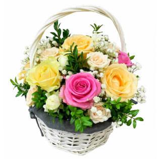 Цветы в корзинке «Трепетные чувства»
